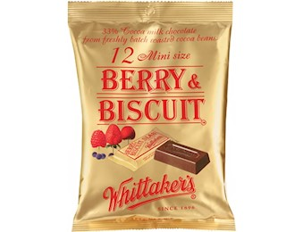 WHITTAKERS BERRY & BISCUIT MINI SLABS 180G