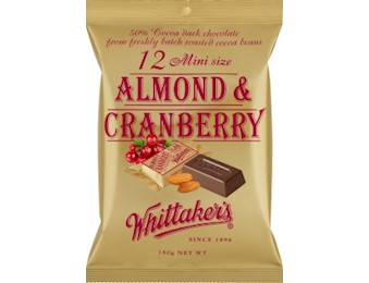 WHITTAKERS ALMOND&CRNBERRY MINI 180G