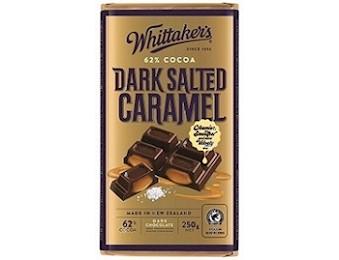 WHITTAKERS DARK SALTED CAR 62% Block 250G